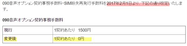 トーンモバイル 090音声オプション契約事務手数料